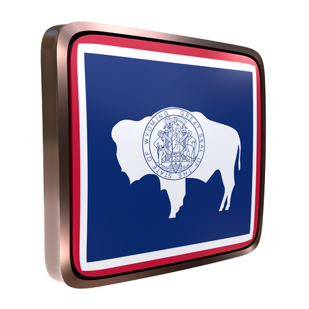 3d rendering of a Wyoming State flag icon with a bright frame. Isolated on white background.