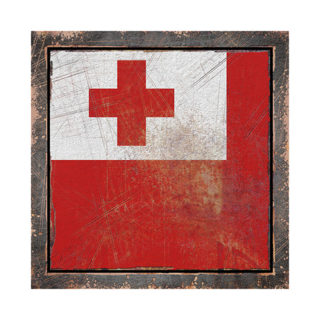 3d rendering of a Tonga flag over a rusty metallic plate in an old frame. Isolated on white background. Stock Photo