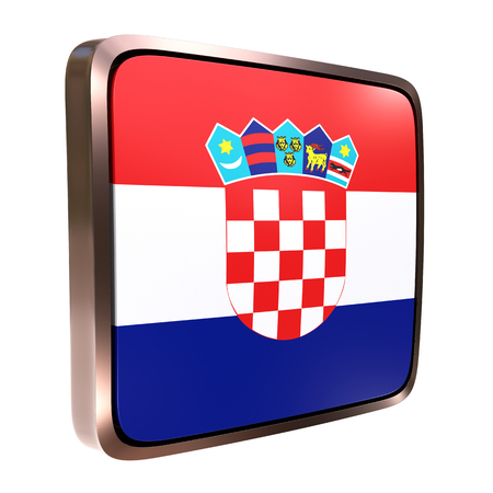 3d rendering of a Croatia flag icon with a metallic frame. Isolated on white background.