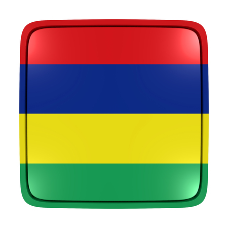 3d rendering of a Republic of Mauritius flag icon. Isolated on white background. Stock Photo