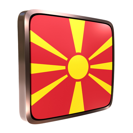 3d rendering of a Macedonia flag icon with a metallic frame. Isolated on white background. 写真素材