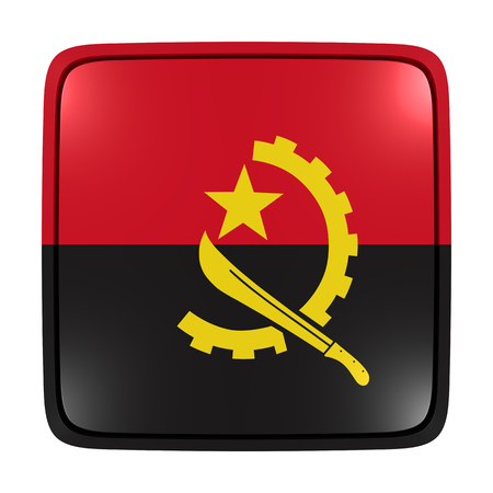 3d rendering of an Angola flag icon. Isolated on white background.