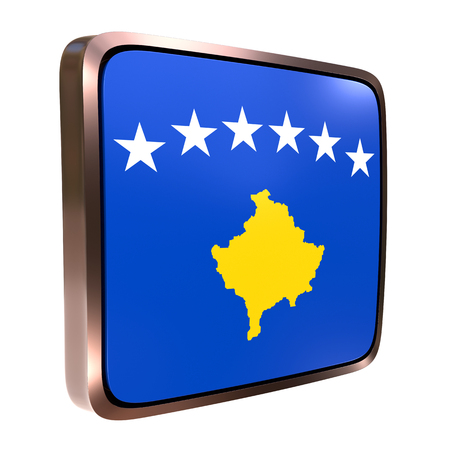 3d rendering of a Kosovo flag icon with a metallic frame. Isolated on white background. 写真素材
