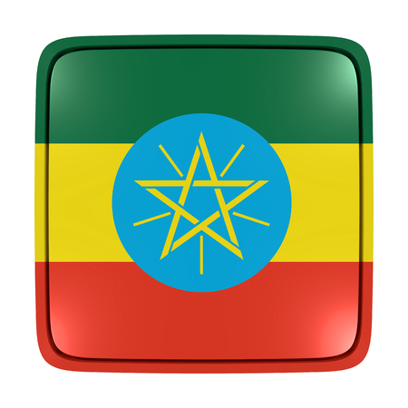 3d rendering of an Ethiopia flag icon. Isolated on white background.