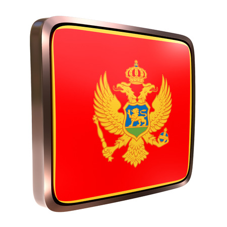3d rendering of a Montenegro flag icon with a metallic frame. Isolated on white background. 写真素材