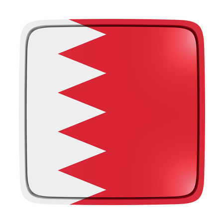 3d rendering of a Bahrain flag icon. Isolated on white background.