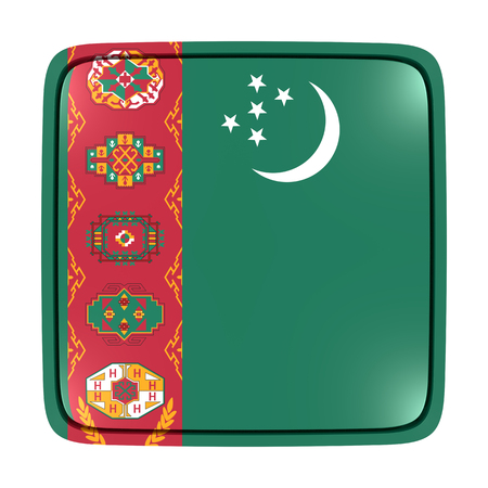 3d rendering of a Turkmenistan flag icon. Isolated on white background.