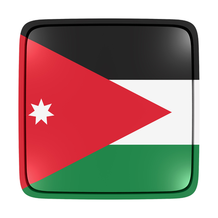 3d rendering of a Jordan flag icon. Isolated on white background. Stock Photo