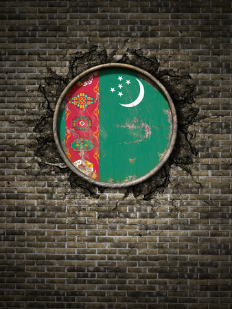 3d rendering of a Turkmenistan flag over a rusty metallic plate embedded on an old brick wall Stock Photo