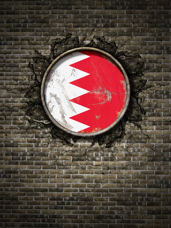 3d rendering of a Bahrain flag over a rusty metallic plate embedded on an old brick wall