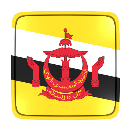 3d rendering of a Brunei flag icon. Isolated on white background.