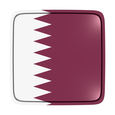 3d rendering of a Qatar flag icon. Isolated on white background.