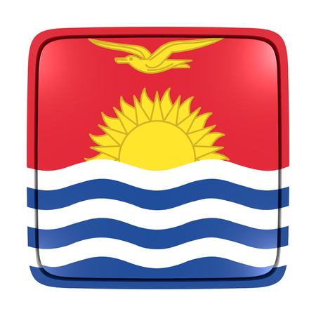 3d rendering of a Kiribati flag icon. Isolated on white background.