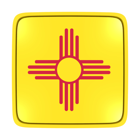 3d rendering of a New Mexico State flag icon. Isolated on white background.