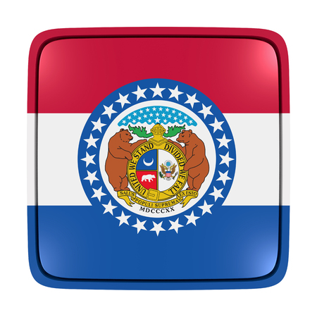 3d rendering of a Missouri State flag icon. Isolated on white background.