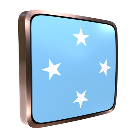 3d rendering of a Micronesia flag icon with a bright frame. Isolated on white background.