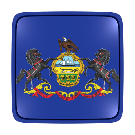3d rendering of a Pennsylvania State flag icon. Isolated on white background.
