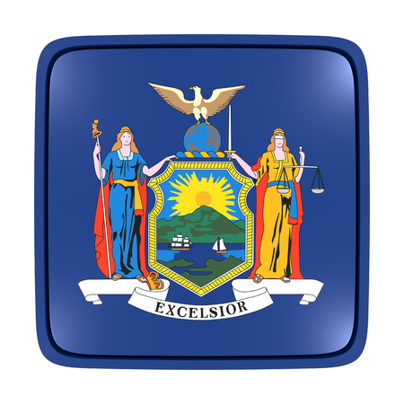 3d rendering of a New York State flag icon. Isolated on white background. Stock Photo