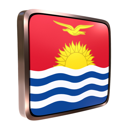 3d rendering of a Kiribati flag icon with a bright frame. Isolated on white background.