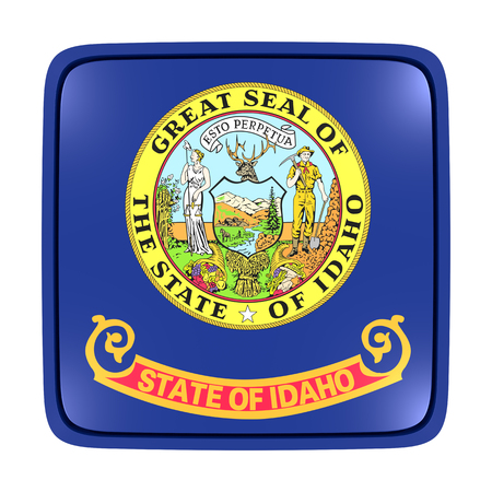 3d rendering of an Idaho State flag icon. Isolated on white background. 写真素材