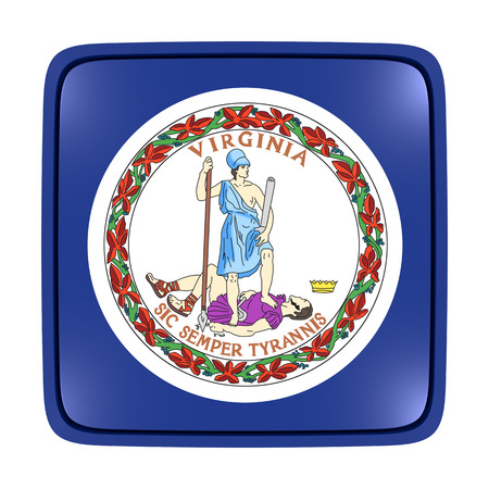 3d rendering of a Virginia State flag icon. Isolated on white background.