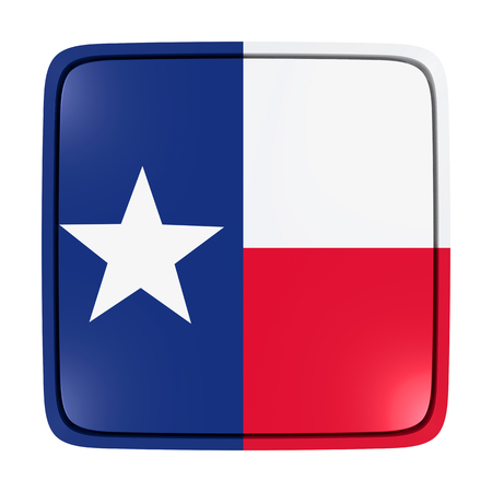 3d rendering of a Texas State flag icon. Isolated on white background. Фото со стока