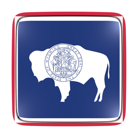 3d rendering of a Wyoming State flag icon. Isolated on white background.