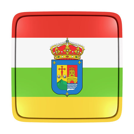 3d rendering of a La Rioja spanish community flag icon. Isolated on white background.