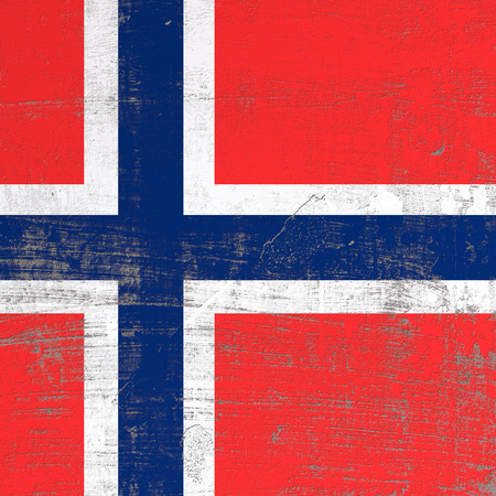3d rendering of Norway flag in a scratched surface Stock Photo
