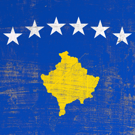 3d rendering of Kosovo flag in a scratched surface Imagens