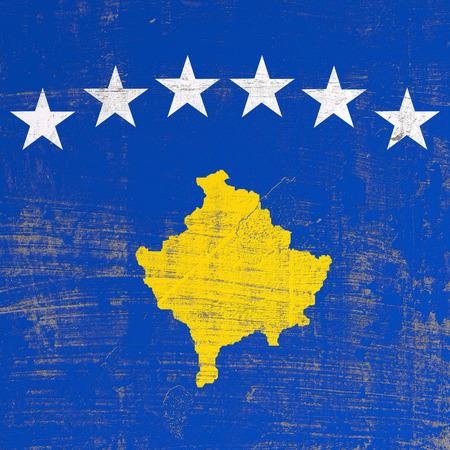 3d rendering of Kosovo flag in a scratched surface Reklamní fotografie