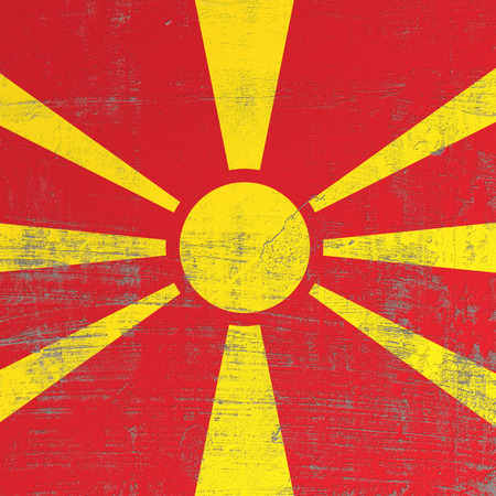 3d rendering of Macedonia flag in a scratched surface