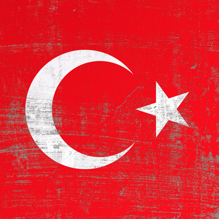 3d rendering of Turkey flag in a scratched surface