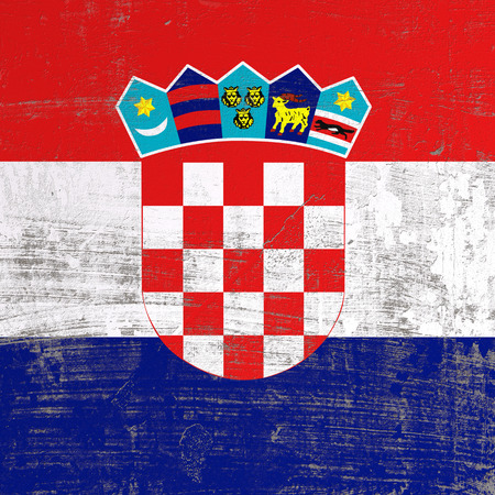 3d rendering of Croatia flag in a scratched surface 写真素材