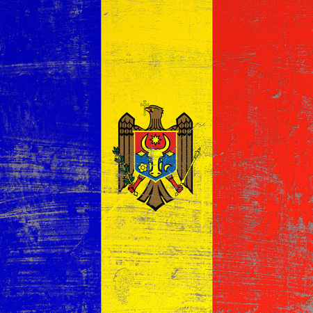 3d rendering of Moldova flag in a scratched surface Stock Photo
