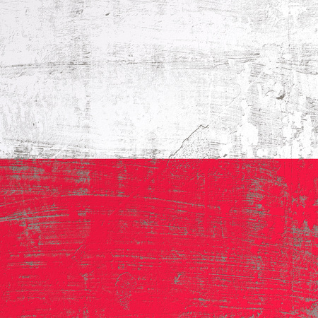 3d rendering of Poland flag in a scratched surface
