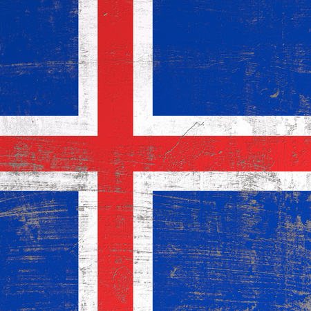 3d rendering of Iceland flag in a scratched surface