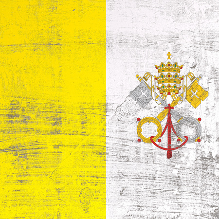 3d rendering of Vatican flag in a scratched surface Stockfoto