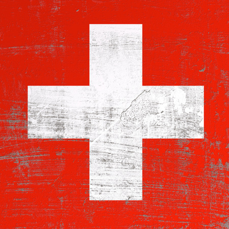 3d rendering of Switzerland flag in a scratched surface Banque d'images - 100157592