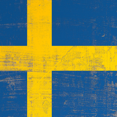 3d rendering of Sweden flag in a scratched surface Stockfoto