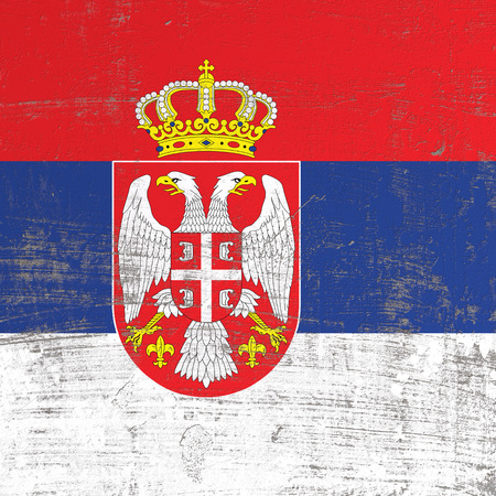 3d rendering of Serbia flag in a scratched surface Imagens