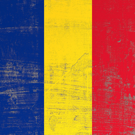 3d rendering of Romania flag in a scratched surface Stock Photo