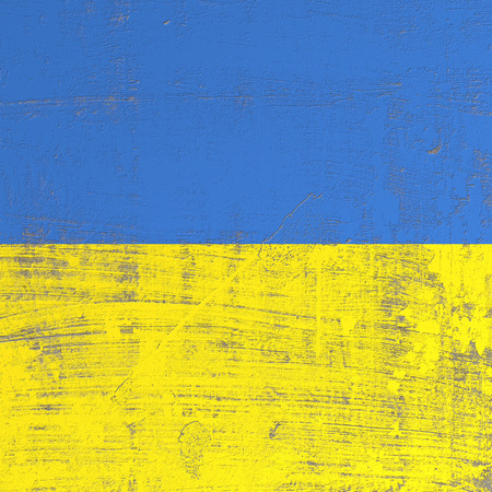 3d rendering of Ukraine flag in a scratched surface