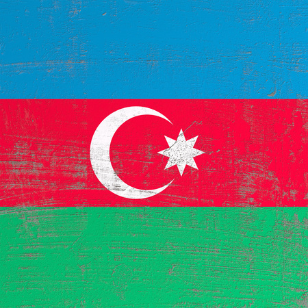 3d rendering of Azerbaijan flag in a scratched surface