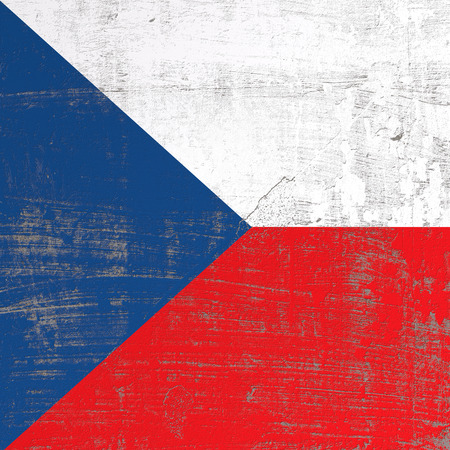 3d rendering of Czech Republic flag in a scratched surface Imagens - 100157616