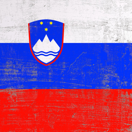 3d rendering of Slovenia flag in a scratched surface Stock Photo