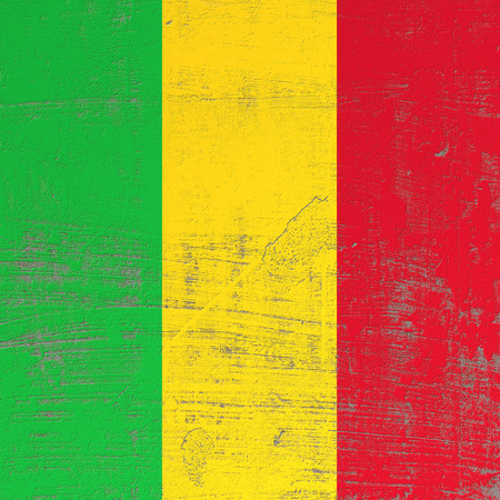 3d rendering of Mali flag in a scratched surface