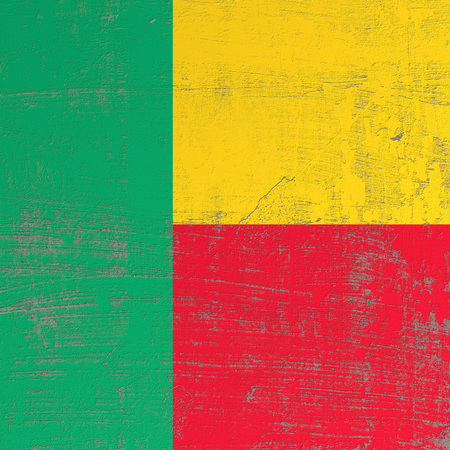 3d rendering of Benin flag in a scratched surface