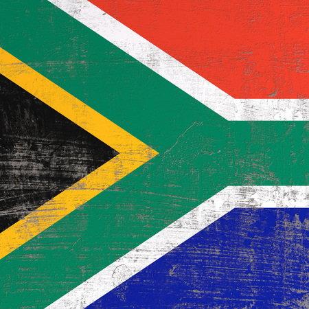 3d rendering of South Africa flag in a scratched surface