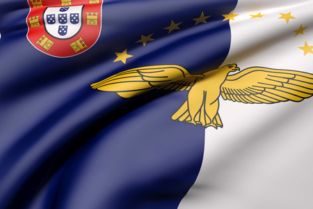 3d rendering of Azores flag waving
